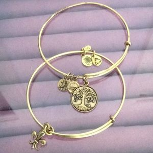 Two gold-tone Alex and Ani